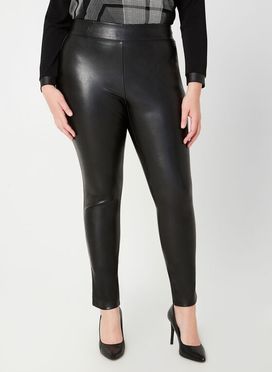 Faux Leather Slim Leg Pants, Black