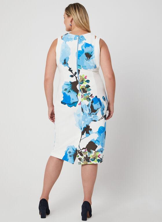 Robe fourreau à motif floral, Bleu, hi-res