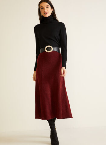 Jupe midi en tricot texturé, Rouge,  automne hiver 2020, jupe, midi, tricot, texturé, taille élastique, à enfiler, fait au Canada, évasée, ligne A
