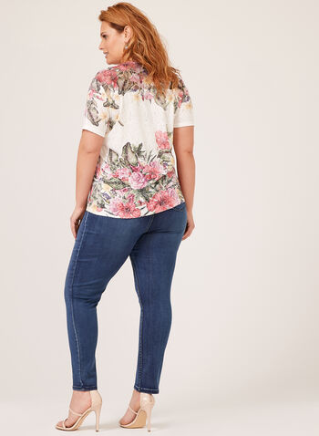 Floral Print Lace Yoke T-Shirt, Blue, hi-res