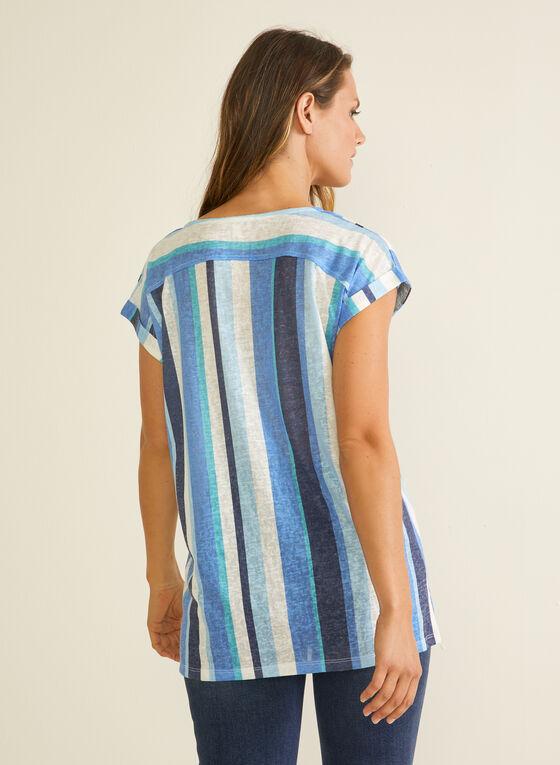 T-shirt rayé en lin, Bleu