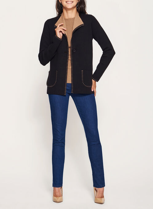 Double Knit Cardigan, Black, hi-res