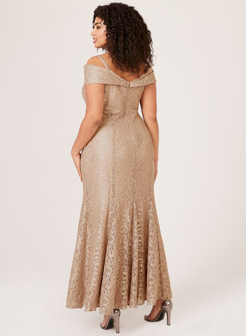 Glitter Lace Mermaid Gown, Gold, hi-res