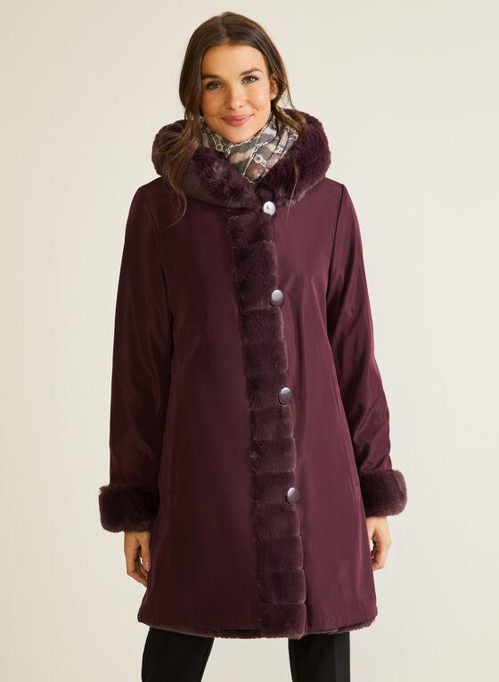Manteau en fausse fourrure réversible, Rouge