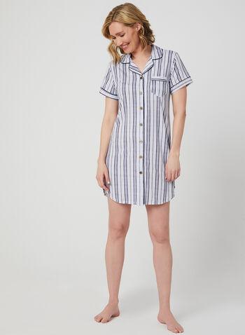 Claudel Lingerie – Marine Print Nightshirt, White, hi-res,  boat print, stripe print, pj, pyjama, pajama, nightgown, nightshirt