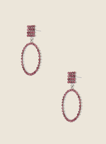 Crystal Hoop Earrings, Purple,  fall winter 2020, earrings, crystals, jewel, accessories, hoops, dangle, jewellery