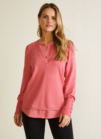 Button Detail Fooler Sweater, Pink,  fall winter 2020, top, long sleeves, sweater, layered, buttons, chiffon