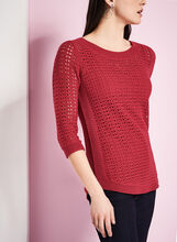 3/4 Sleeve Pointelle Sweater, Red, hi-res