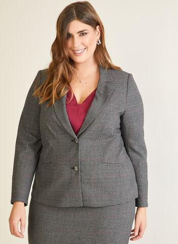 Veste tailleur à motif tartan, Rouge,  veste, tailleur, col cranté, boutons, tartan, automne hiver 2020