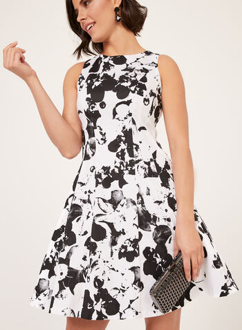 Floral Print Fit & Flare Dress, White, hi-res
