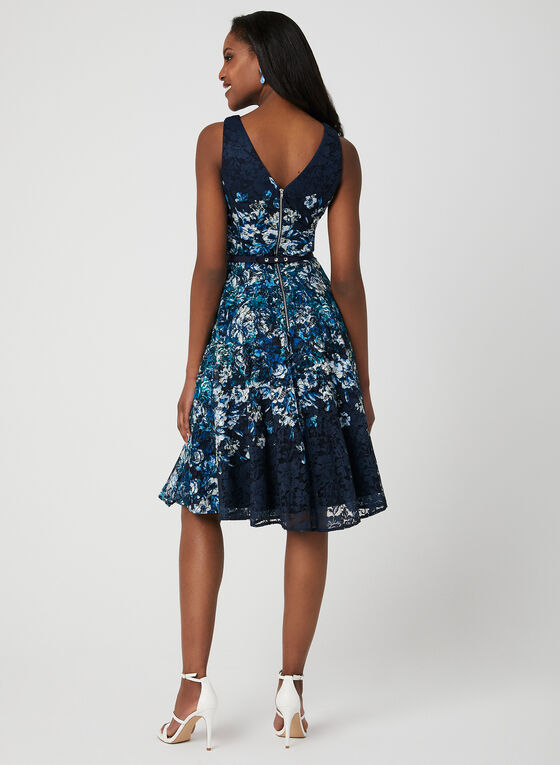 Belted Floral Lace Dress, Blue