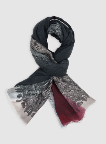 Paisley Print Scarf, Grey,  scarf, paisley, fall 2019, winter 2019