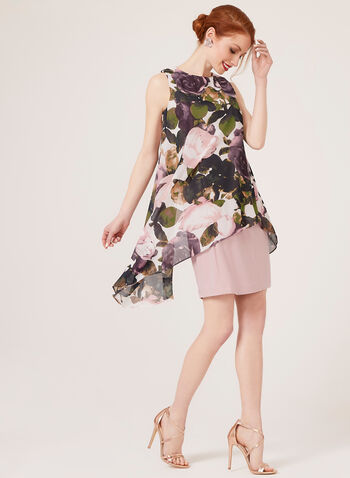 Sleeveless Floral Print Dress, Pink, hi-res