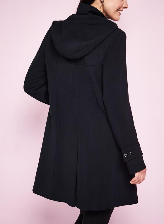 Manteau en crêpe surpiqué style empire, Noir, hi-res
