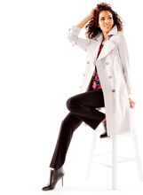 Nuage Double Breasted Trench Coat , Silver, hi-res