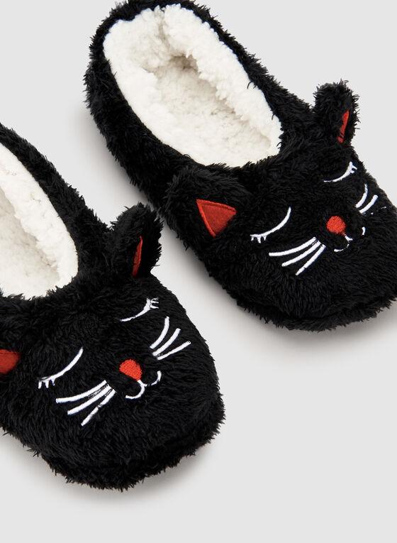 Fleece Animal Slippers, Black, hi-res