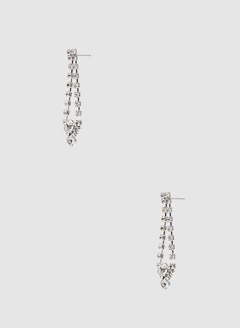 Boucles d'oreilles à cristaux, Argent, hi-res