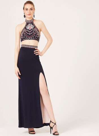 Bare Midriff Halter Top Gown, Blue, hi-res