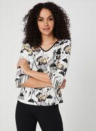 Floral Print Jersey Top, White, hi-res