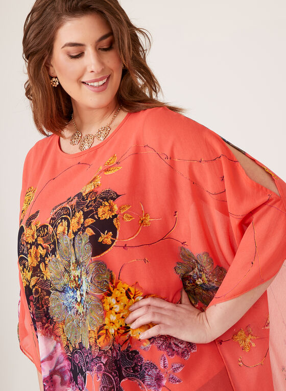 Ness - Blouse poncho à imprimé floral , Orange, hi-res