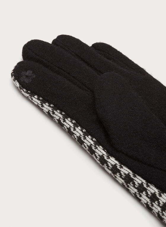 Houndstooth Knit Gloves, Black, hi-res