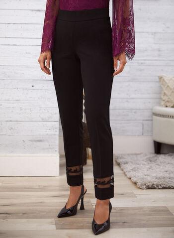 Pantalon à jambe droite à détails en mailles , Noir,  pantalon, jambe droite, tulle, mailles, billes, longueur 7/8, facile à enfiler, pull-on, automne hiver 2020
