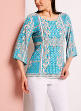 Graphic Print Bell Sleeve Top	, , hi-res