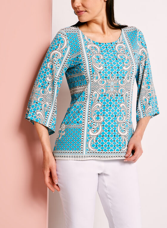 Graphic Print Bell Sleeve Top	, Blue, hi-res