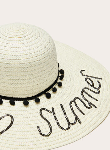 Wide Brim Pompom Trim Hat, Off White, hi-res