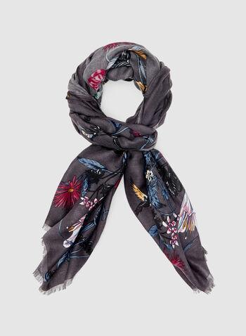 Foulard léger à imprimé floral, Gris, hi-res