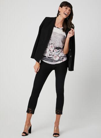 Floral Print T-Shirt, Grey, hi-res,  t-shirt, drop shoulders, floral print, rhinestones, spring 2019