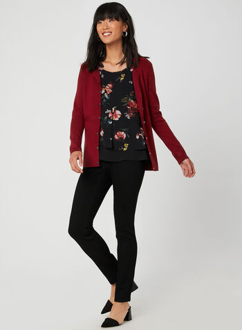 Haut à imprimé floral en mousseline, Noir, hi-res,  sans manches, encolure ronde, motif, motifs, fleurs, automne hiver 2019