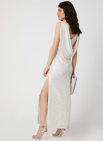 Metallic Evening Dress, Off White, hi-res