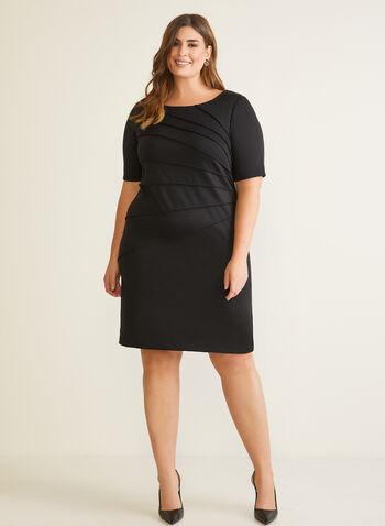 Elbow Sleeve Sheath Dress, Black,  day dress, elbow sleeves, sheath, pintuck, fall winter 2020