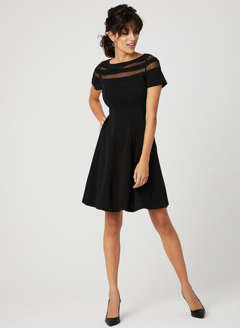 Mesh Yoke Fit & Flare Dress, Black, hi-res