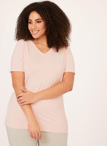 V-Neck T-Shirt, Pink, hi-res