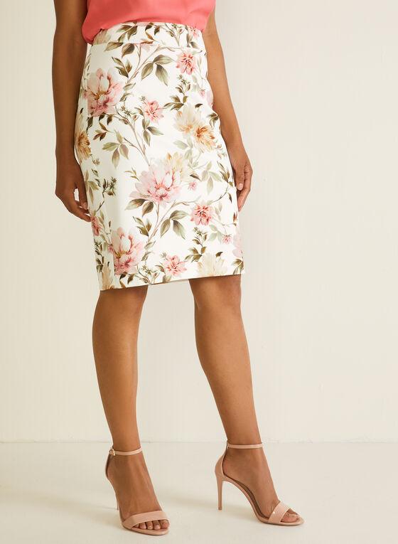 Floral Print Straight Skirt, White