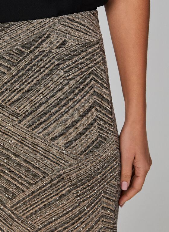 Metallic Geometric Print Skirt, White, hi-res
