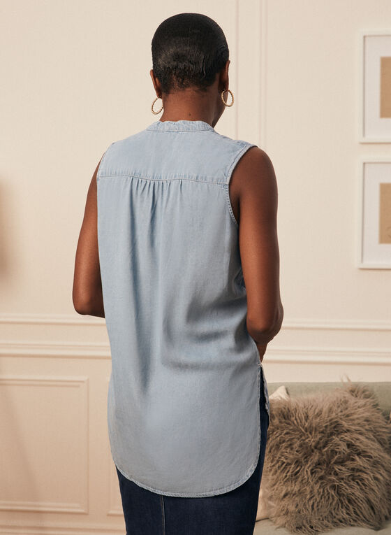 Sleeveless Denim Tunic Blouse, Blue