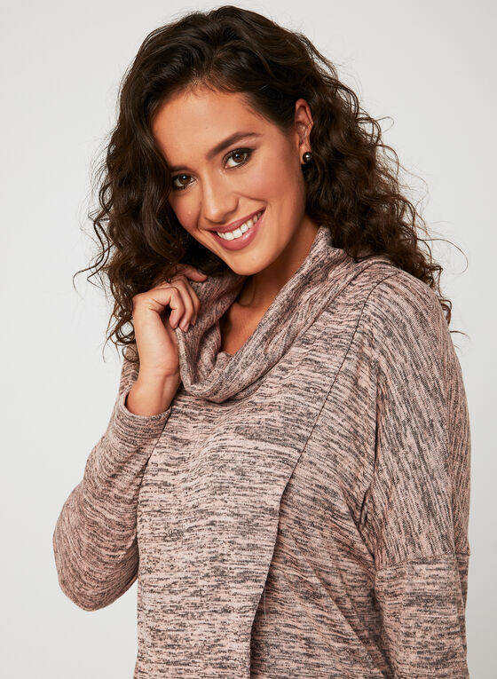 Linea Domani - Knit Drape Neck Top, Brown, hi-res
