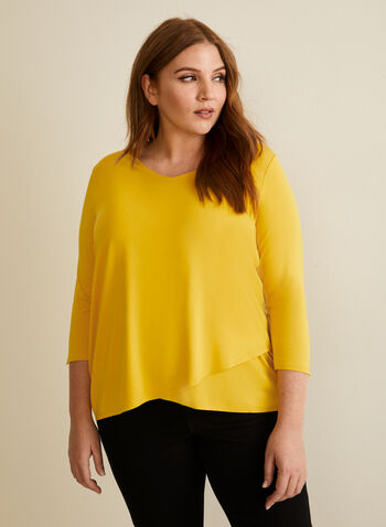 3/4 Sleeve Button Detail T-Shirt, Yellow,  t-shirt, 3/4 sleeves, v-neck, stretchy, button details, spring summer 2020