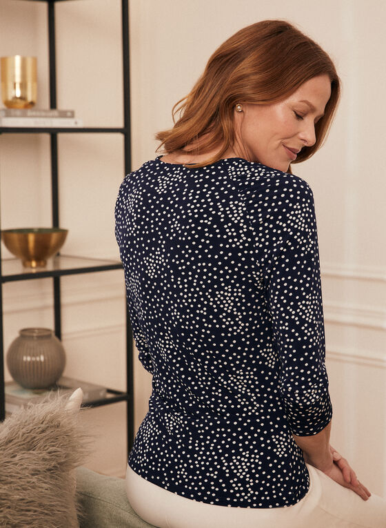 Dotted Print 3/4 Sleeve Top, Blue