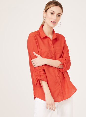 Eyelet Embroidery Linen Blouse, Red, hi-res