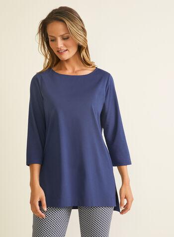 T-shirt à manches ¾ en modal et coton, Bleu,  t-shirt, manches 3/4, col bateau, modal, coton, printemps été 2020