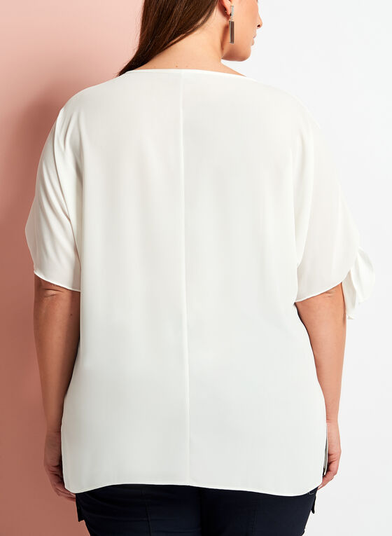 Scoop Neck Cold Shoulder Blouse, Off White, hi-res