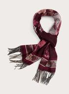 Foulard écharpe à fleurs et franges, Rouge, hi-res