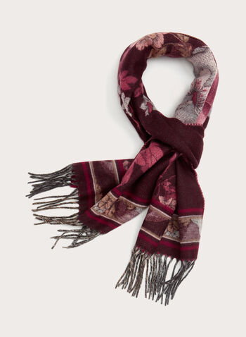 Floral Print Fringed Scarf, Red, hi-res