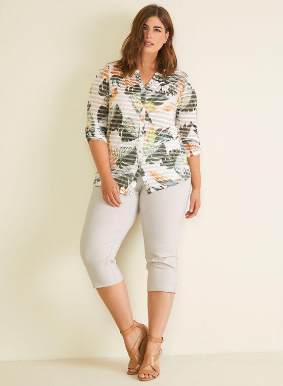 T-shirt boutonné motif tropical et rayures, Vert