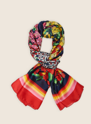 Flower Field Print Lightweight Scarf, Multi,  scarf, lightweight, oblong, floral, stripes, spring summer 2020