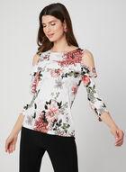 Floral Print Cold Shoulder Top, White, hi-res